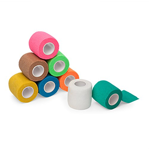 "8-Pack, 2"" x 5 Yards, Self-Adherent Cohesive Tape, Strong Sports Tape for Wrist, Ankle Sprains & Swelling, Self-Adhesive Bandage Rolls, FDA Approved, Assorted Neon Colors, by California Basics"