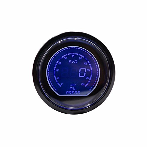 galleon - 2 inch lcd racing car evo oil press gauge 0-150 psi with sensor  red/blue led changeable color