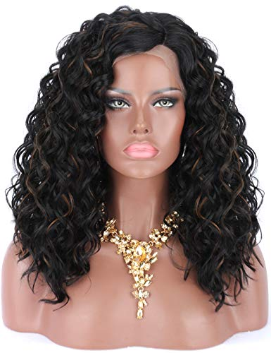 y Premium Heat Resistant Futura Synthetic 1B/30 Black Wigs with Light Brown Strips Half Hand Tied L Side Parting Lace Front Wigs for Women-Bouncy Curls Human Hair Like Sheen ()