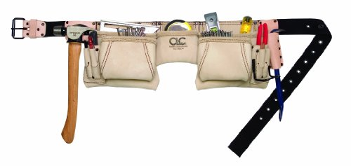 CLC Custom Leathercraft 175274 Heavy Duty Top Grain Leather Construction Work Apron & Hammer Loop, 12 Pocket