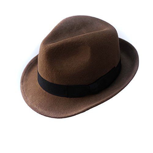 Trilby Hat Wool Felt Panama Fedora jazz Sun Beach style With Black band For Men's outfits (Incredibles Outfit)