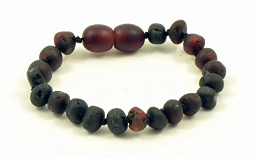 Amber Teething Bracelet, Amber teething Anklet for Baby, Genuine Raw Baltic Amber Bead Anklet, Unpolished Amber, Anti-Inflammatory, Hand-Made, Knotted, Various Sizes (Raw Cherry, 5.5 in (14cm))