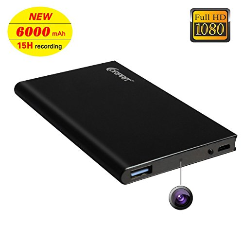 Corprit Hidden Spy Camera, HD 1080P 6000mAh Power Bank Portable Spy Nanny Cam, 15 Hours Continuous Video Recording (NO wifi function)