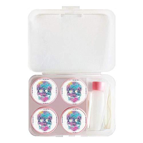 Flower Cirrus Colorful Skull Illustration Contact Lens Case Bulk Tweezers Container Holder