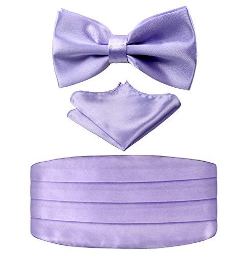 Cummerbund Lilac (Multicolored Silk Solid Cummerbund for Mens Gift Bow Tie Set, Lilac)