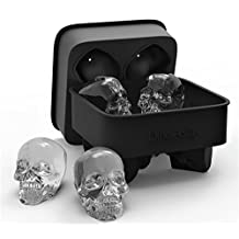 DineAsia 3D Skull Flexible Silicone Ice Cube Mold Tray, Makes Four Giant Skulls, Round Ice Cube Maker, Black