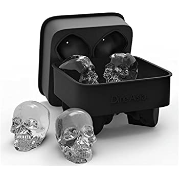 DineAsia 3D Skull Flexible Silicone Ice Cube Mold Tray, Makes Four Giant Iced Skulls, Easy Release Realistic Skull Ice Cube Maker, BPA Free, Black