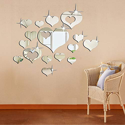 ZeoJard 2Set 3D Mirror Wall Sticker Acrylic Heart-Shaped Mirror Stickers Removable Heart Art Decor Wall Poster Living Room Wedding Room Home Decoration (1#Hearts) (Mirror Heart Wall)