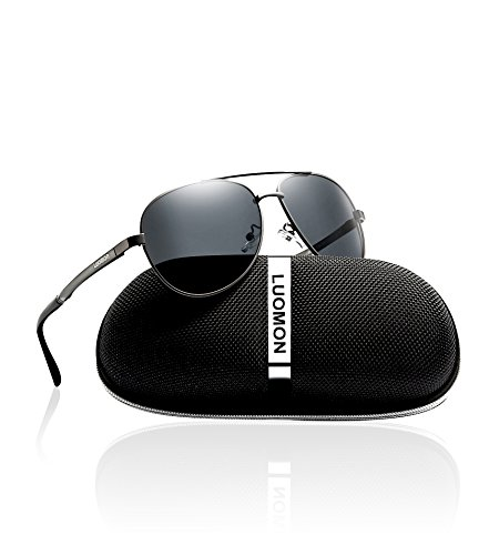 LUOMON Men's Polarized Aviator Sunglasses Metal Grey Frame/Grey Lens for Fishing Driving Cycling Golf Baseball Running Softball Hiking - Sunglasses Luomon