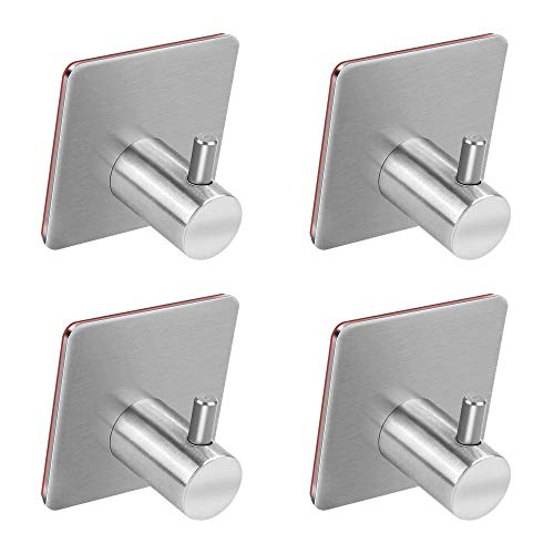 Adhesive Hooks, Turefans Heavy Duty Wall Hooks Stainless Steel Strong Sticky wall Hanger for Hanging Keys, Robe, Coat, Towel, Bags, Hats, Bathroom Kitchen Organizer-4 Pack