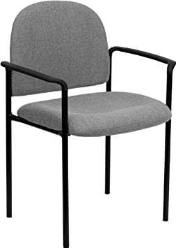 Gray Fabric Comfortable Stackable Steel Side Chair with Arms BT-516-1-GY-GG
