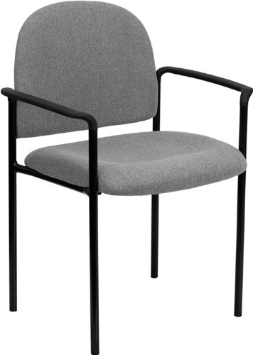 - Flash Furniture Comfort Gray Fabric Stackable Steel Side Reception Chair with Arms