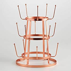 French Wine Bottle Dryer, Mug Drying Rack, Shiny Penny Copper Finish