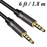 6Ft Male to Male Audio Cable,Jeselry 4 Pole Hi-Fi Stereo Sound 3.5mm Aux Cable Adapter/Auxiliary Cable/Aux Cord Compatible Headphones, iPods, iPhones, iPads, Home/Car and More 1.8M (Black)