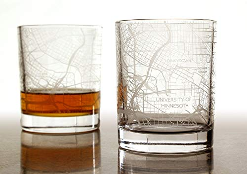 City Map Whiskey Glass by RES|SCU - Set of 2. Premium 10.5 oz Rocks Style Glassware for Fine Scotch, Bourbon and Cocktail Drinks, Unique Gifts for Men, 100% Lead-Free - Minneapolis, MN