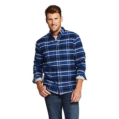 (Lands' End Men's Traditional Fit Flagship Flannel Shirt, L, Blue Arctic)