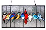 Stained Glass Lighting Family Of Birds Window Panel 24.5 X 13'' Handcrafted