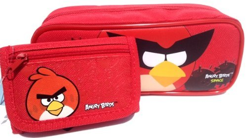 1 X Angry Birds Pencil Pouch and Wallet -Great Birthday Gift Set for Boys -