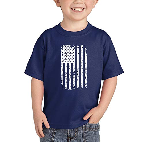HAASE UNLIMITED White American Flag - Torn USA Infant/Toddler Cotton Jersey T-Shirt (Navy, 18 Months)