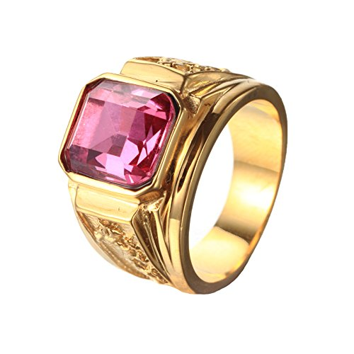 (CARTER PAUL Men's Stainless Steel Black Agate Stone 18K Gold Promise Ring Wedding Band,Gold Pink,Size 10)