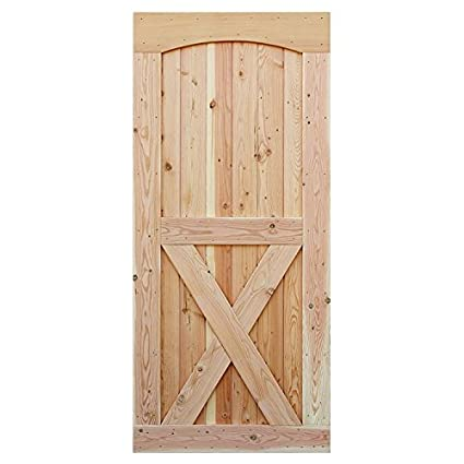 Interior Wood X Brace Arched Top Barn Door