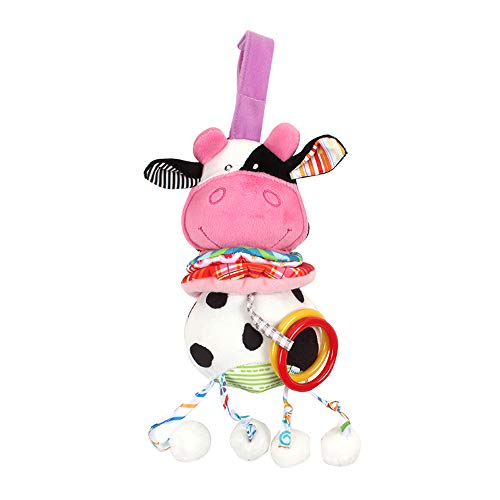 Walmeck Hanging Rattle, Baby Musical Crib Toy Infant Stroller Hanging Toy Kids Cartoon Activity Toys No Battery Requires - Rattle Cow