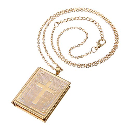 kitt Retro Gold Square Book Cross Pendant Necklace, Charm Locket Mini 2 Slot Photo Frame Pendant Necklace for Women Jewelry Gift