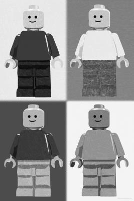 (24x36) Lego Minifigure Man Quad Black White Pop-Art Poster