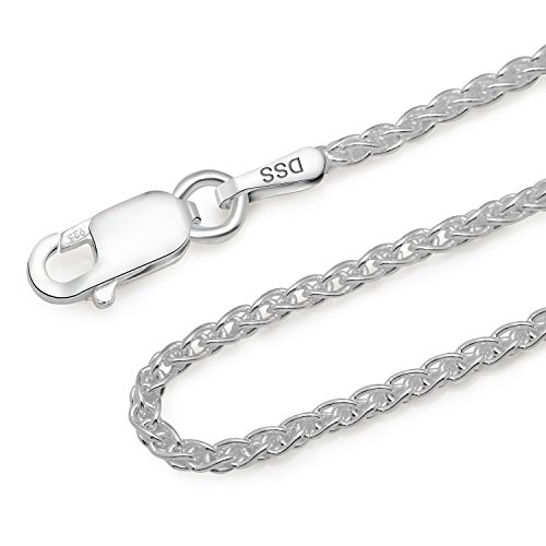 925 Sterling Silver 1.3MM Wheat Chain Lobster Claw Clasp 24'' by Designer Sterling Silver (Image #2)