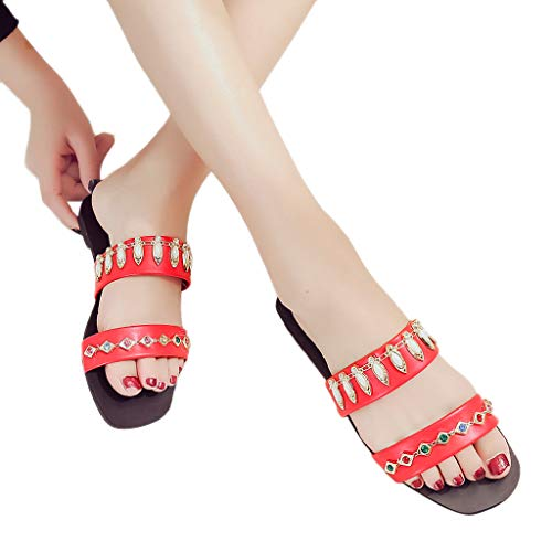 Women Rhinestone Flat Sandals, NDGDA Bottom Round Solid Color Lazy Casual Slippers Shoes