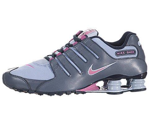 Nike Women's Nike Shox NZ EU Lt Armry Bl/Clb Pnk/Armry Slt Running Shoe 8.5 Women US