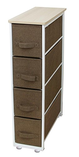 iTIDY Drawer Chest-4 Drawer Narrow Storage Chest,Dresser,Drawer Organizer Unit,Multi-Purpose Storage Cabinet With Removable Fabric Drawers,Brown (4 Drawer Chest Cabinet)