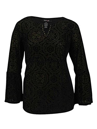 Style & Co Shirt Top (Style & Co. Womens Plus Long Sleeves Textured Blouse Black 2X)