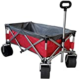 Cheap Eurmax Sports Collapsible Sturdy Steel Frame Garden Carts on Wheels Utility Beach Wagon Cart with Big Wheels,Bonus 8x8Ft Picnics Mat (Red & Gray)