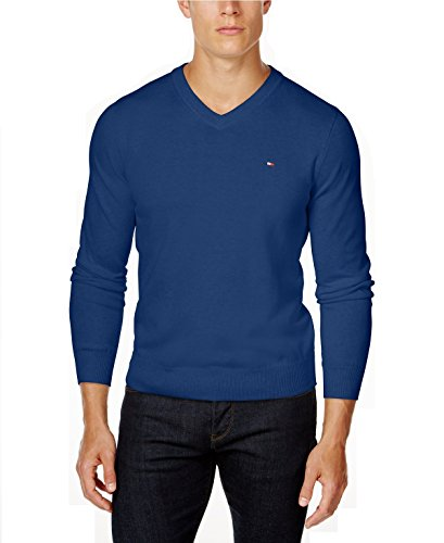 Tommy Hilfiger Mens Knit Ribbed Trim V-Neck Sweater (Medium, Surf The - Customer Hilfiger Tommy Service