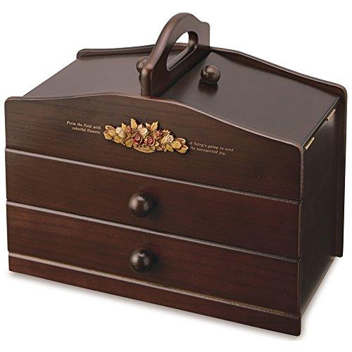 ソーイングボックス 木製 裁縫箱 アンティーク調 裁縫道具箱 日本製