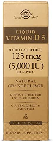 Liquid Vitamin D3 (Cholecalciferol) 125 mcg (5,000 IU) - Natural Orange Flavor - 2 Ounces