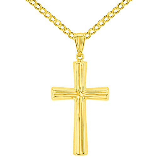 Polished 14K Yellow Gold Plain Religious Cross Pendant with Cuban Chain Necklace, 24