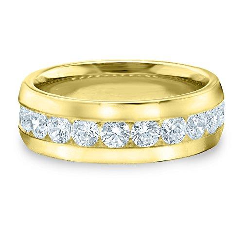18K Yellow Gold Diamond Men's Channel Set Ring (2.0 cttw, F-G Color, VVS1-VVS2 Clarity) Size 7