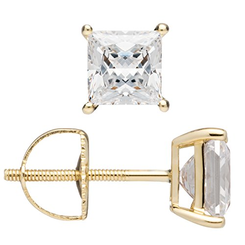 Everyday Elegance | 14K Solid Yellow Gold Stud Earrings | Princess Cut Cubic Zirconia | Screw Back Posts | 2.0 ctw | With Gift Box by Everyday Elegance Jewelry