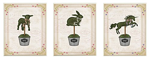 Stupell Home Décor English Garden Topiary Animals 3pc Wall Plaque Art Set, 10 x 0.5 x 15, Proudly Made in USA by The Stupell Home Decor Collection