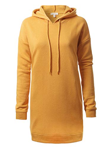 Instar Mode Casual Loose Fit Long Sleeves Over-Sized Tunic Sweatshirts,Ihow005 Ash Mustard,Medium/Large