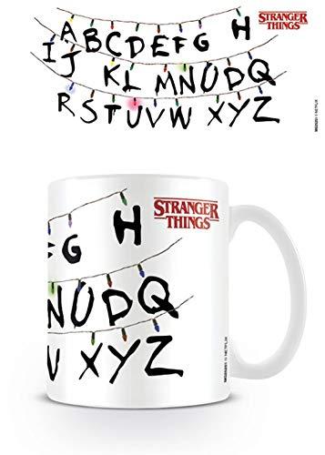 1art1 Set: Stranger Things, Lights, Light Bulbs, Letters, Alphabet Photo Coffee Mug (4x3 inches) and 1x Surprise Mug