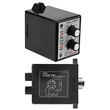 On Off Twin Timer Relay Knob Control Time Switch 6S-60M AC 220V relay tool On On Timer Switch Twin Timer