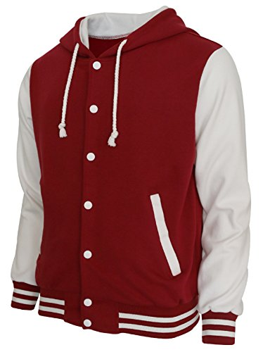 BCPOLO Hoodie Baseball Jacket Varsity Baseball Jacket Cotton Letterman Jacket Wine Red-White-L -