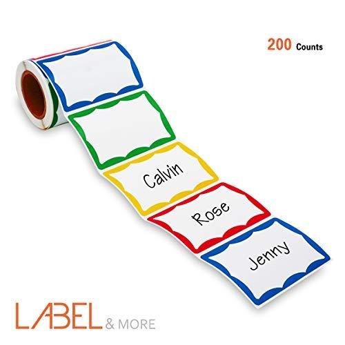 Lobel & More - Etiquetas adhesivas con nombre liso de colores para escuela, oficina, etc, para contenedores de alimentos,...