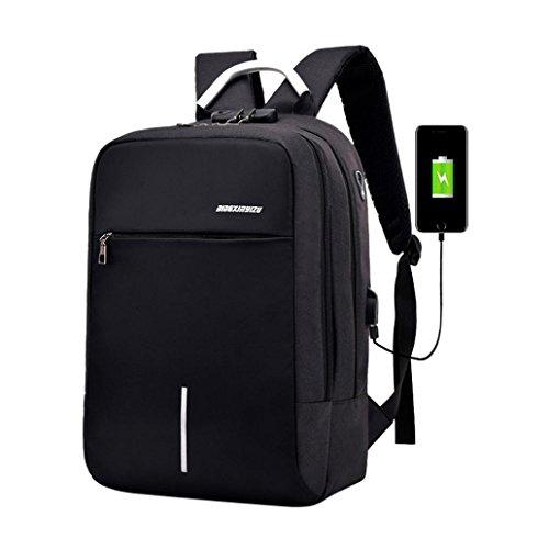 Jiusike Unisex High-capacity Backpack Reflective Laptop Backpack with USB Charging Port (Black) by Jiusike