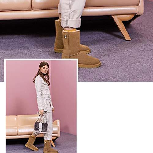 Da Piatto Outdoor Casual Antiscivolo Impermeabili Scarpe Spessi Size Brown E 39 Calzature Comode Tacco Neve Camping Brown Con Stivali Caldi color 5vpBw1