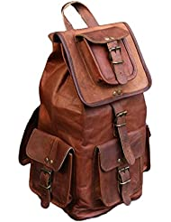 RK 20 Brown Vintage Handmade Leather backpack rucksack day pack tour bag