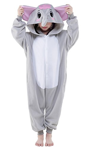 NEWCOSPLAY Unisex Children Elephant Pyjamas Halloween Kids Onesie Costume (105, Grey Elephant)]()